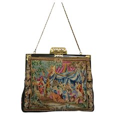 Vintage Petit Point Scenic Figural Purse Bag Handbag