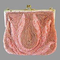 Vintage Pink Beaded Purse Child's Bag Handbag