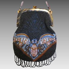 Vintage Beaded Purse Owl Celluloid Tortoise Handbag Bag Circa 1900s