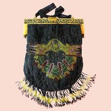 Vintage Beaded Purse Deco Celluloid Flapper Egyptian Revival Handbag Circa 1920s