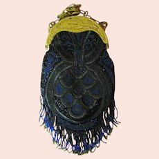 Vintage Beaded Purse Deco Celluloid Flapper Egyptian Revival Handbag Circa 1920s