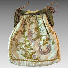 Vintage Chinese Purse Embroidered Dragons Flowers on Silk