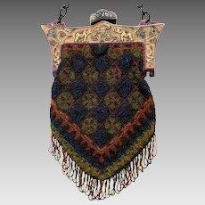 Vintage Beaded Purse Geometric Celluloid Frame Bag Handbag Circa 1920s