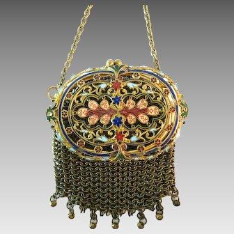 Antique Mesh Enamelled Purse Bag Handbag for Chatelaine