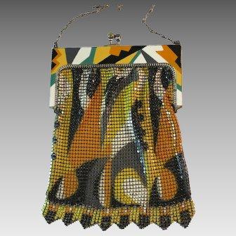 Vintage Mesh Enamelled Purse Bag Handbag Whiting Davis Deco Flapper circa 1920s