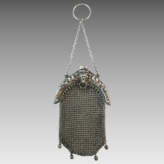 Vintage Antique Sterling Silver Chatelaine Purse Bag Handbag