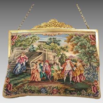Vintage Petit Point Purse Scenic Figural Bag Handbag