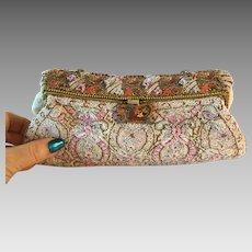 Vintage Beaded Purse Enamelled Frame Outstanding Bag Handbag