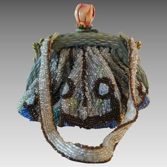 Vintage Beaded Purse Carved Celluloid Frame Flower Bag Handbag