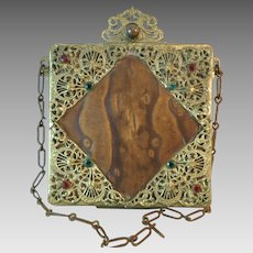 Vintage Dance Purse Compact Leather and Filigree Jewels Necessaire Minaudiere