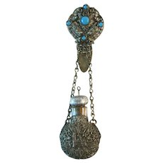 Antique Perfume / Scent Bottle with Chatelaine Clip Turquoise Stones