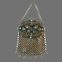 Vintage Chatelaine Purse Filigree Butterfly Turquoise Coloured Stones