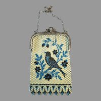 Vintage Mesh Purse Mandalian Blue Bird Scenic