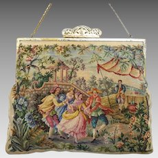 Vintage Petit Point Purse Maria Stransky Purse Bag Handbag 2 Scenes