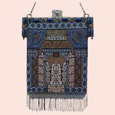 Vintage Micro Beaded Purse Jeweled Frame Geometric Bag Handbag