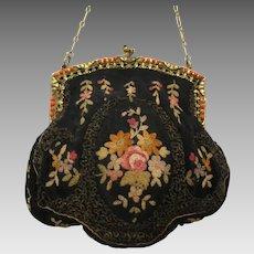 Vintage Embroidered Purse Beaded Frame Charming French Bag Handbag