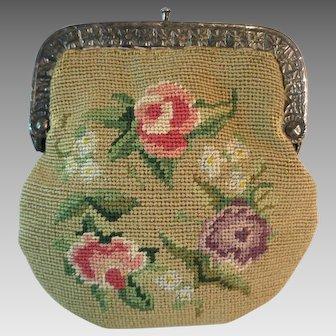 Vintage Sterling Silver Frame Petit Point Coin Purse Bag Handbag