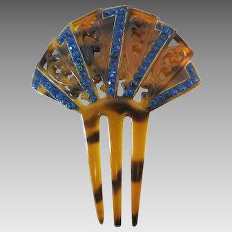 Vintage Art Deco Celluloid Rhinestone Faux Tortoise Hair Comb Accessory
