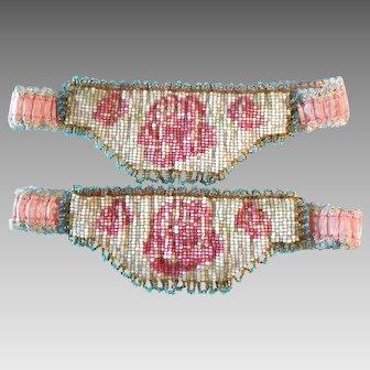 Vintage Hand Beaded Garters (2) Pink Flapper Circa 1920s Art Deco