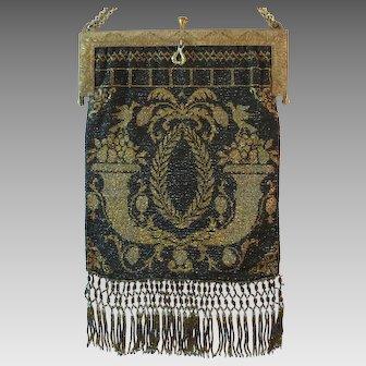 Vintage Beaded Purse France Outstanding French Handbag Bag Black/Gold Victorian