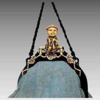 Vintage Celluloid Purse Frame 3-D Figural Geisha Bag Handbag