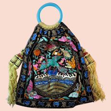 Antique Chinese Purse Embroidered Rank Badge Magnificent Bag Handbag