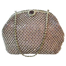 Vintage Rhinestone Purse Dusty Rose Pink Bag Handbag France French