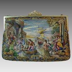 Vintage Petit Point Scenic Purse Bag Handbag