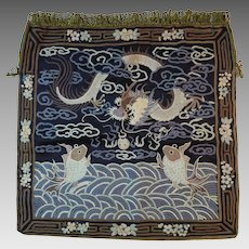 Chinese Embroidered Purse Serpent Dragon Pouch Bag Handbag