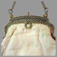 DAZZLING Vintage Purse Egyptian Revival Jewel Studded Frame Snakes