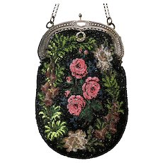 Vintage Purse Floral Beaded Bag Handbag