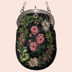 Vintage Purse Floral Beaded Bag Handbag