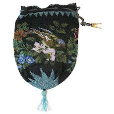 Vintage Micro Beaded Purse Scenic Bird Bag Handbag circa 1900
