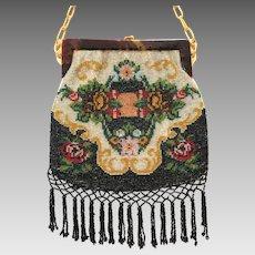 Vintage Purse Beaded Celluloid Frame Floral Bag Handbag