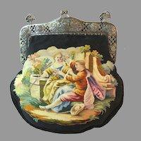 Vintage Aubusson Tapestry Purse Scenic 800 Silver Frame Bag Handbag Circa 1920s
