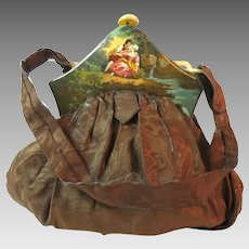 Vintage Purse Scenic Figural Celluloid Frame Painted France