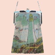 Vintage Whiting Davis Dresden Mesh Scenic Lighthouse Purse Bag Handbag