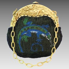 Vintage Beaded Purse Scenic wih Matching Lizard Celluloid Frame circa 1920s