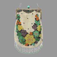Vintage Beaded Purse Ornate Jewelled Stand-Up Frame