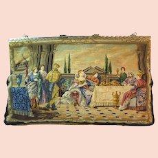 Vintage Petit Point Purse Scenic Figural Bag Handbag France