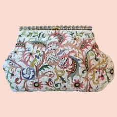 Vintage Purse by Josef Beaded & Embroidered Pink White France