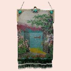 Vintage Micro Beaded Purse Scenic Jewelled Frame Bag  Handbag
