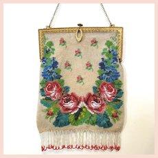 Vintage / Antique Micro Beaded Purse Bag Handbag Victorian