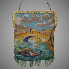 Vintage Purse Scenic / Figural Venice Venetian Bag Handbag Rialto Bridge