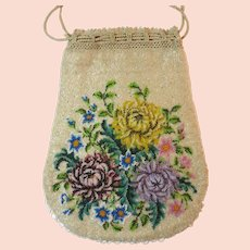 Vintage Purse Beaded Floral Bag Reticule Handbag Victorian