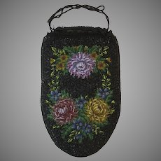 Vintage Purse Beaded Floral Bag Reticule Handbag Victorian