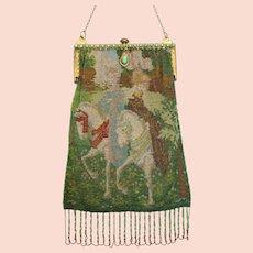Vintage / Antique Purse Micro Beaded Scenic Figural Bag Handbag