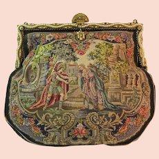 Vintage Scenic Figural Petit Point Purse Bag Handbag