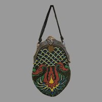 Vintage Beaded Purse Celluloid Frame Art Deco Flapper Bag Handbag circa 1920s