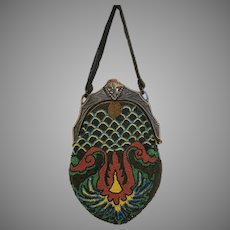Vintage Beaded Purse Celluloid Frame Art Deco Flapper Bag Handbag circa 1920s